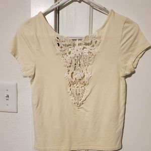 Forever 21 Ivory Lace Front Crop